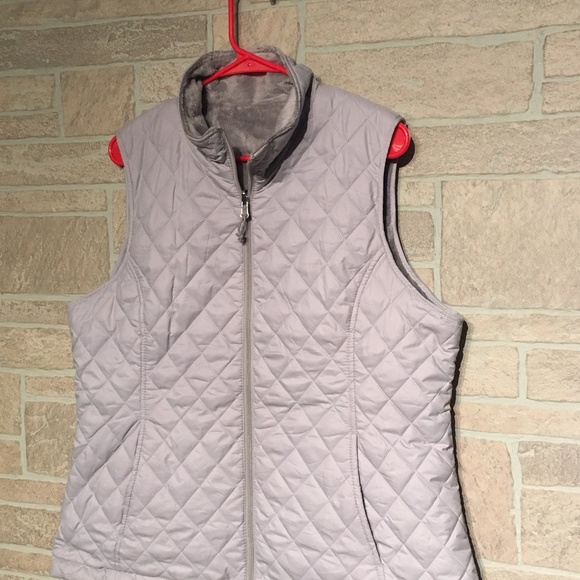 Nwt Womens Free Country Reversible Quilted Vest Full Zip Black Gray Large L